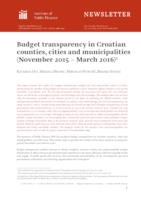Budget transparency in Croatian counties, cities and municipalities (November 2015 – March 2016)